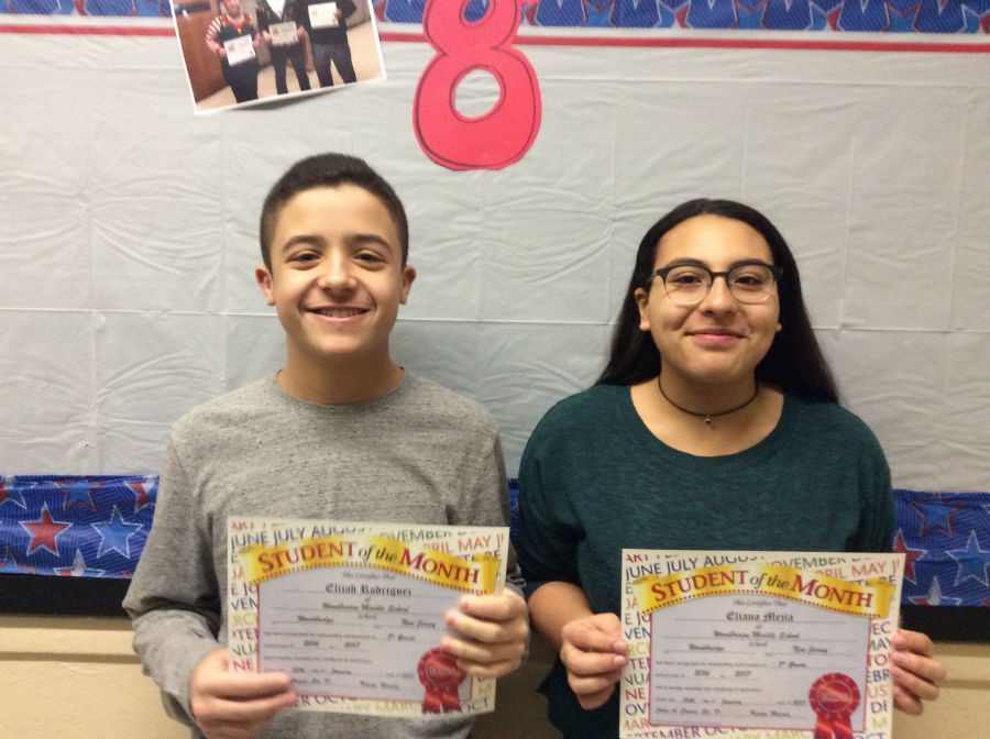 CONGRATULATIONS: Elijah Rodriguez and Eliana Mejia for winning student of the month.