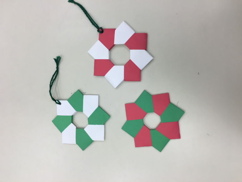 ORIGAMI WREATHS: On of art clubs latest project