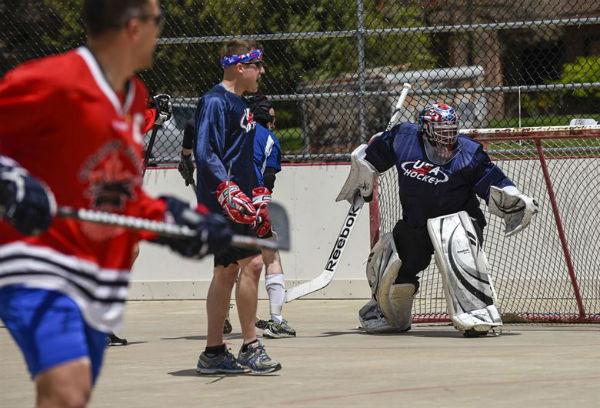 STREET HOCKEY:people playing the great sport of street hockey