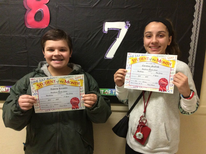 With Dedication comes Recognition for the 7th Grade Students Of The Month.