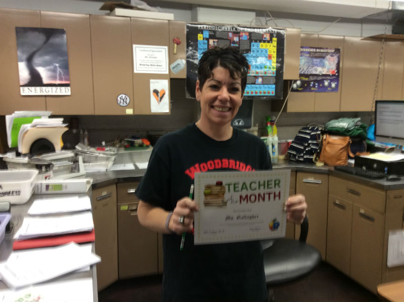 SAY H20: Mrs. Gallagher poses with her TOTM award.