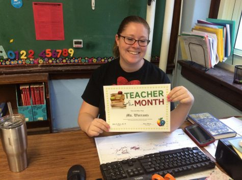 Mrs. Rackett wins 8th grade teacher of September!
