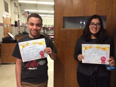 8th grade September students of the month obtain the golden award