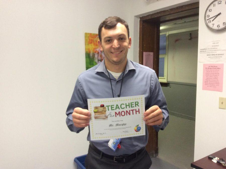 Mr. Murphy is awarded September teacher of the month