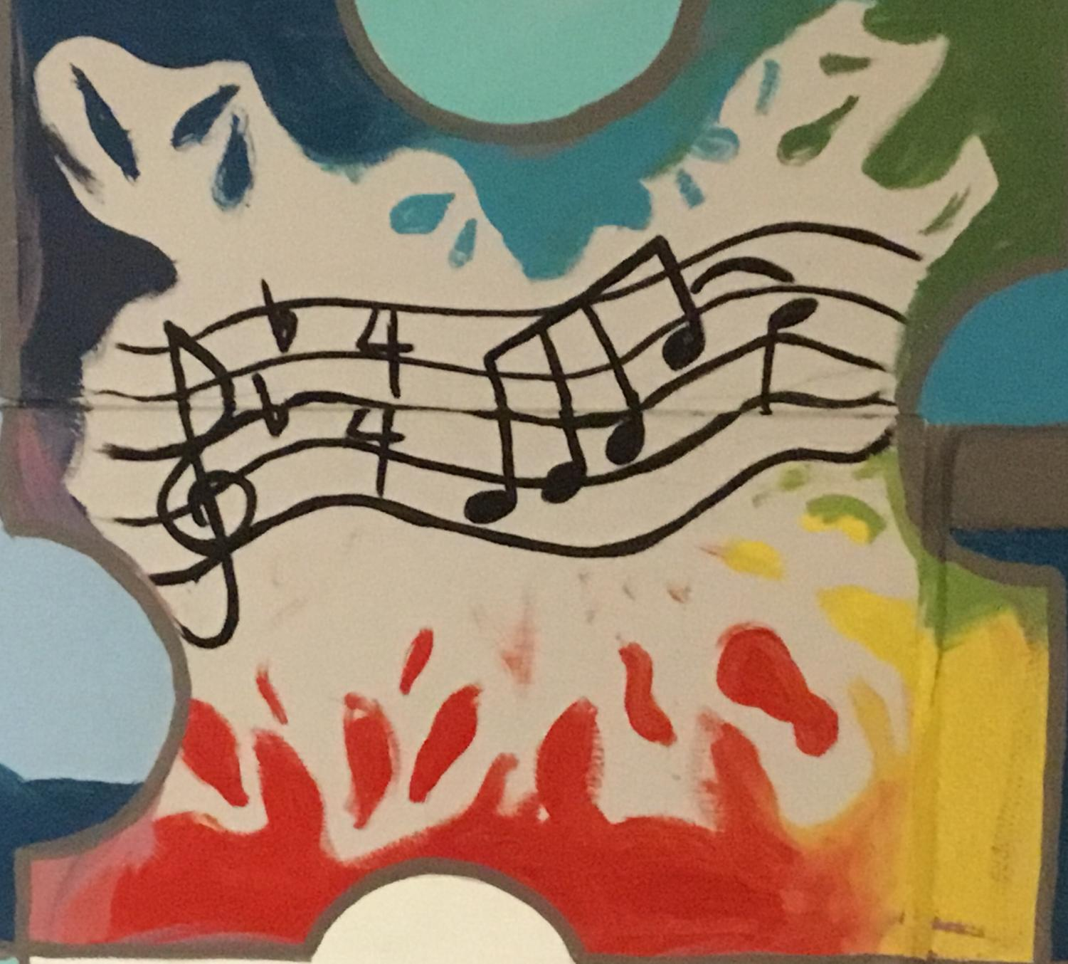 A picture of a mural from mural club representing music.