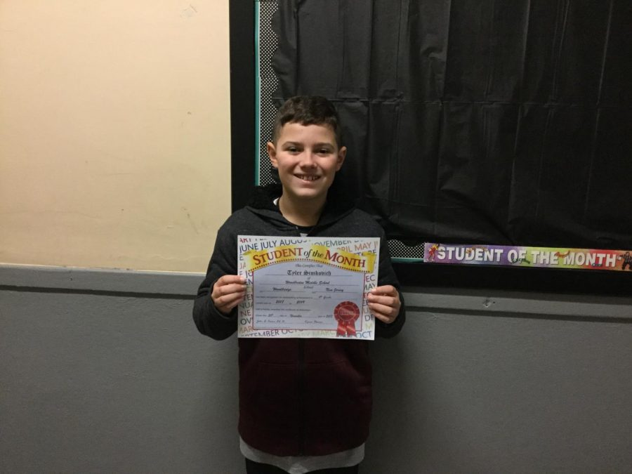 6th graders convey the Warrior Way and win November student of the month