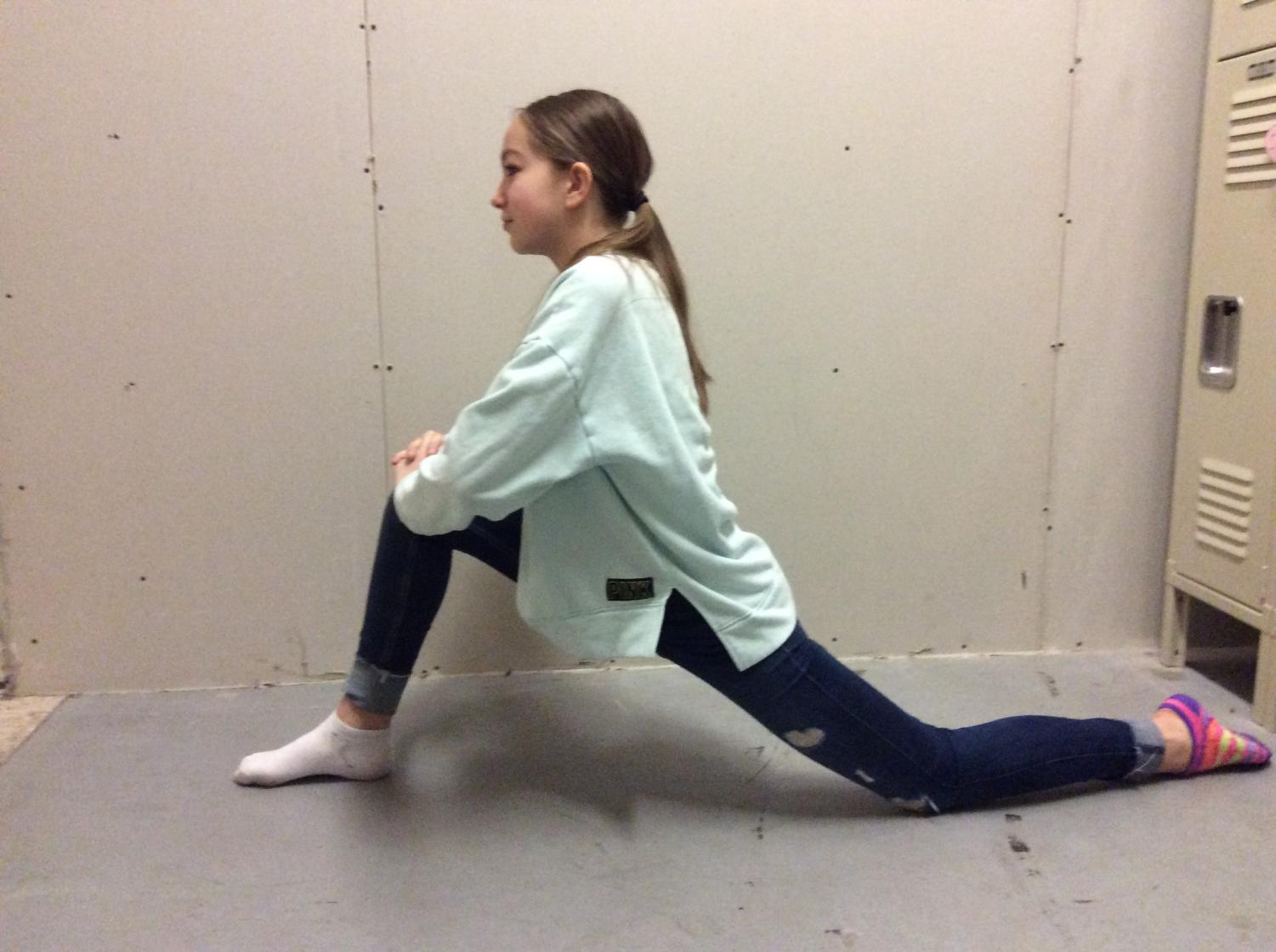 First  step of lunges.