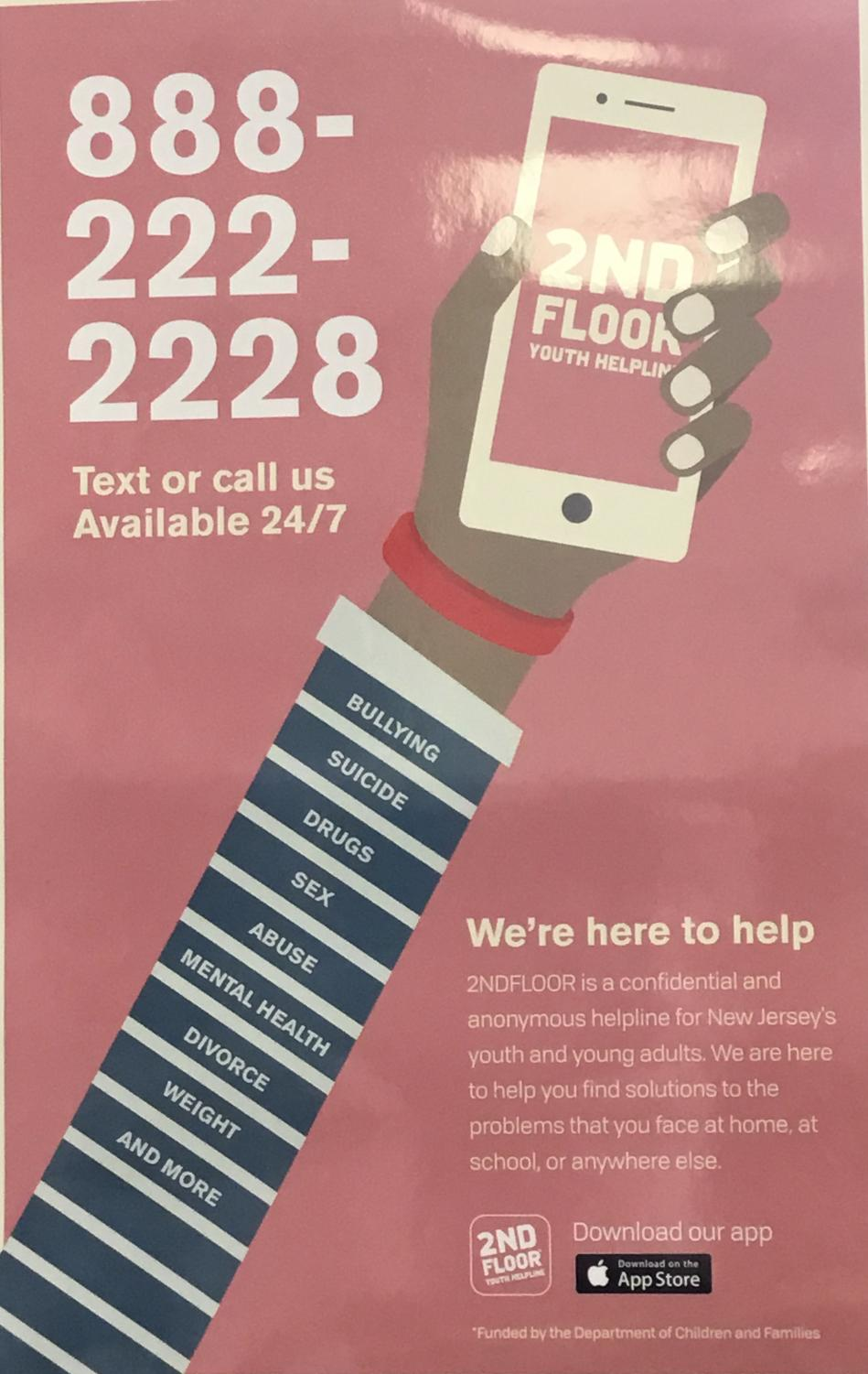 Poster advertising the 2nd Floor Youth Helpline