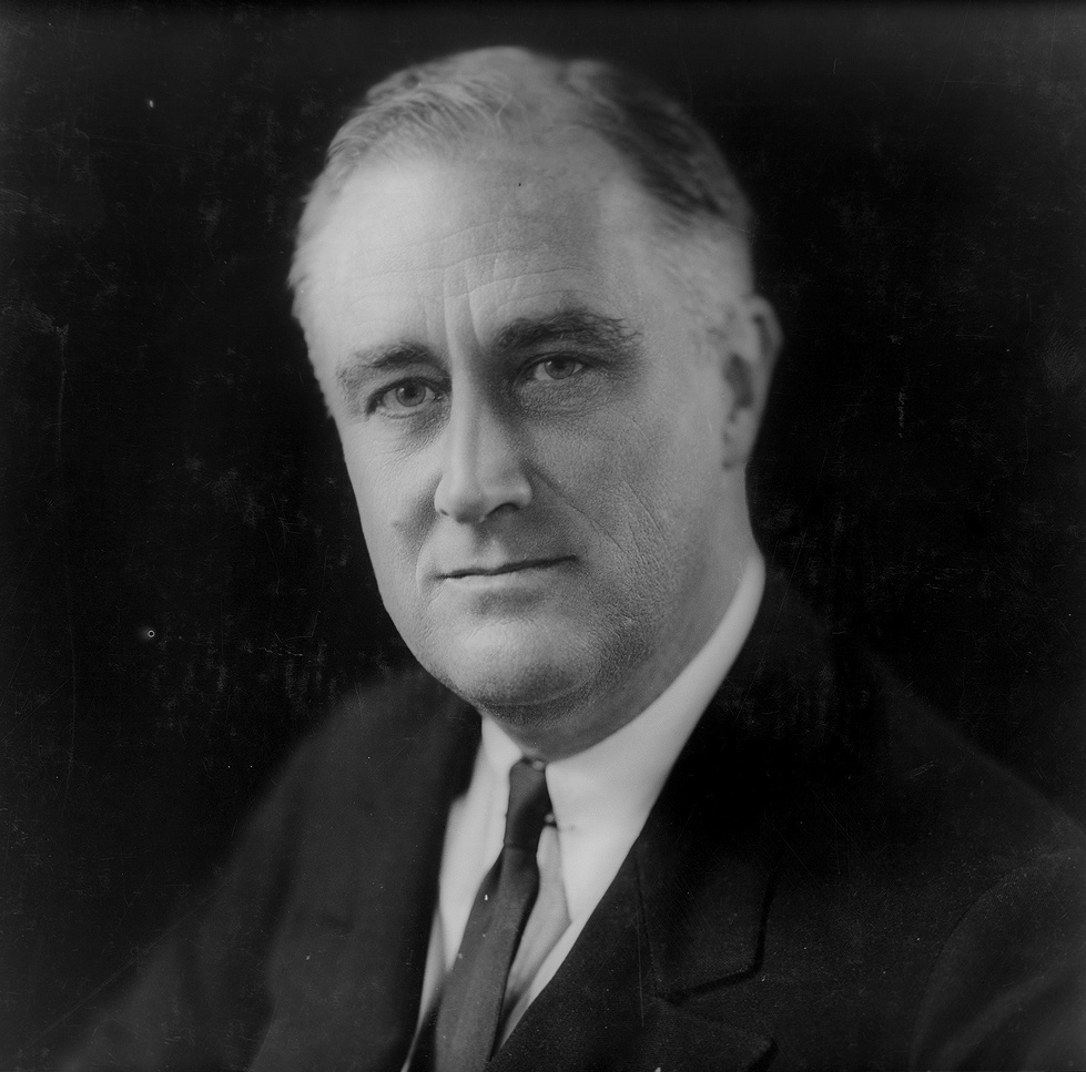 Photo labeled for non-commercial reuse via https://commons.wikimedia.org/wiki/File:Franklin_Delano_Roosevelt_1933.png under the Creative Commons Liscense