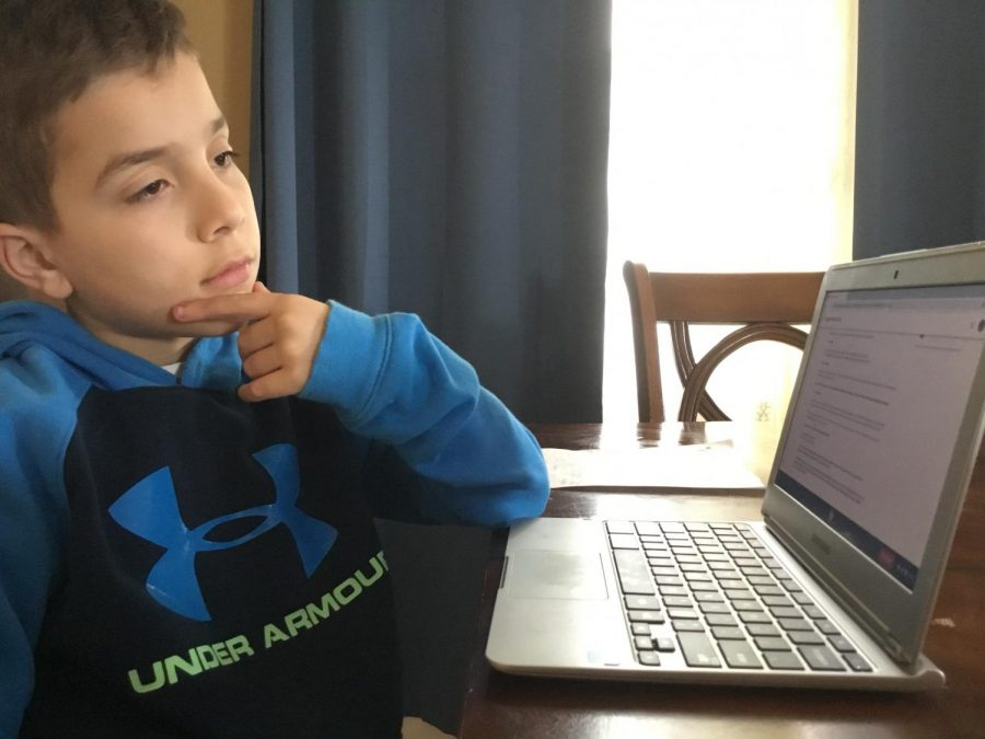 Younger brother of WMS student concentrating on distant learning school work.