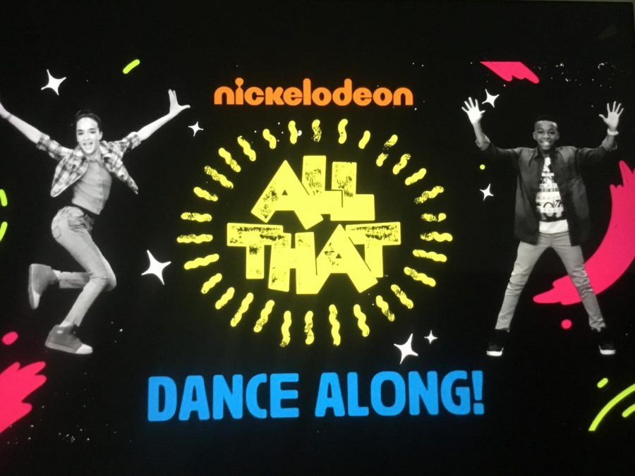 A picture of Nickelodeons exercise commercials on TV.