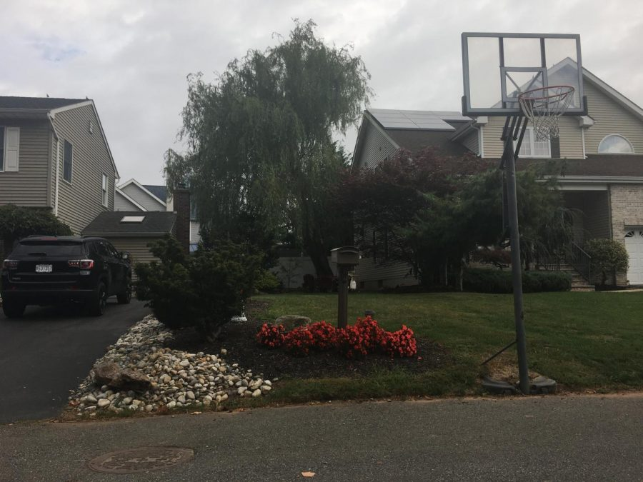 BASKETBALL GRIND: Here is the hoop Sean Russo played on through quarantine with his dad.