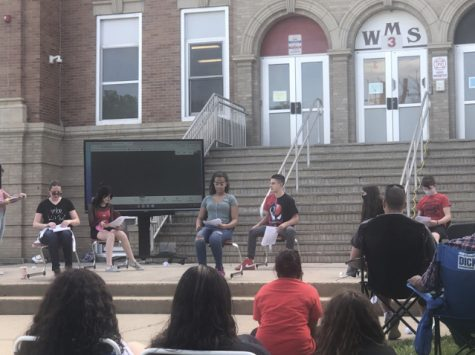 WMS HAS GOT TALENT: Here are the brave actors in Drama Club, performing on the main steps of Woodbridge Middle