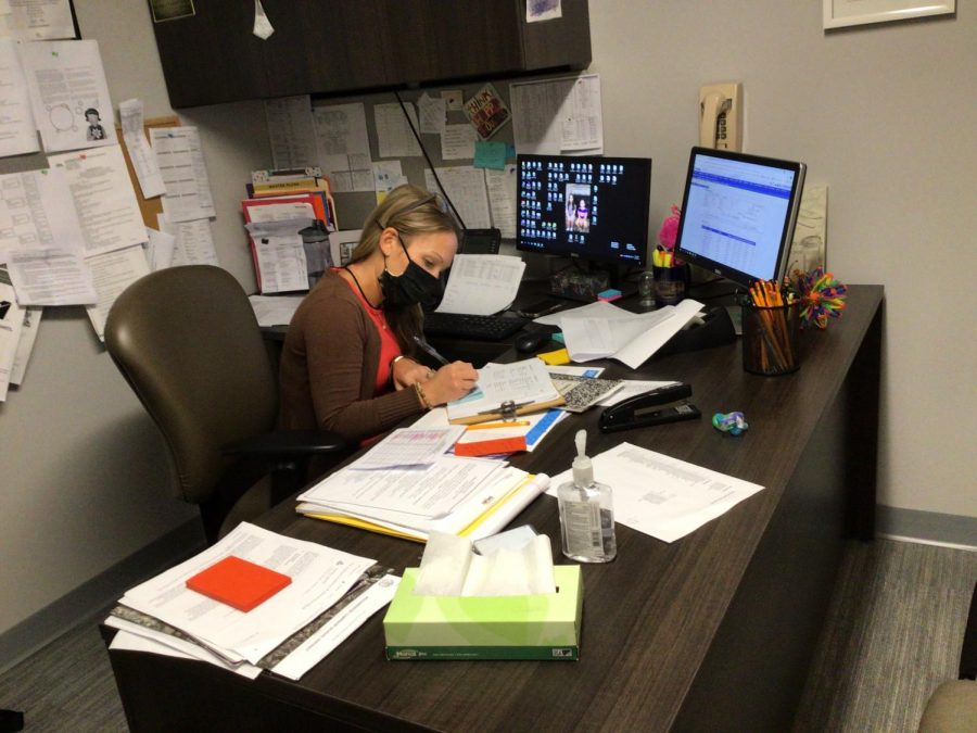 Counselor Mrs. Valente hard at work in her office at WMS