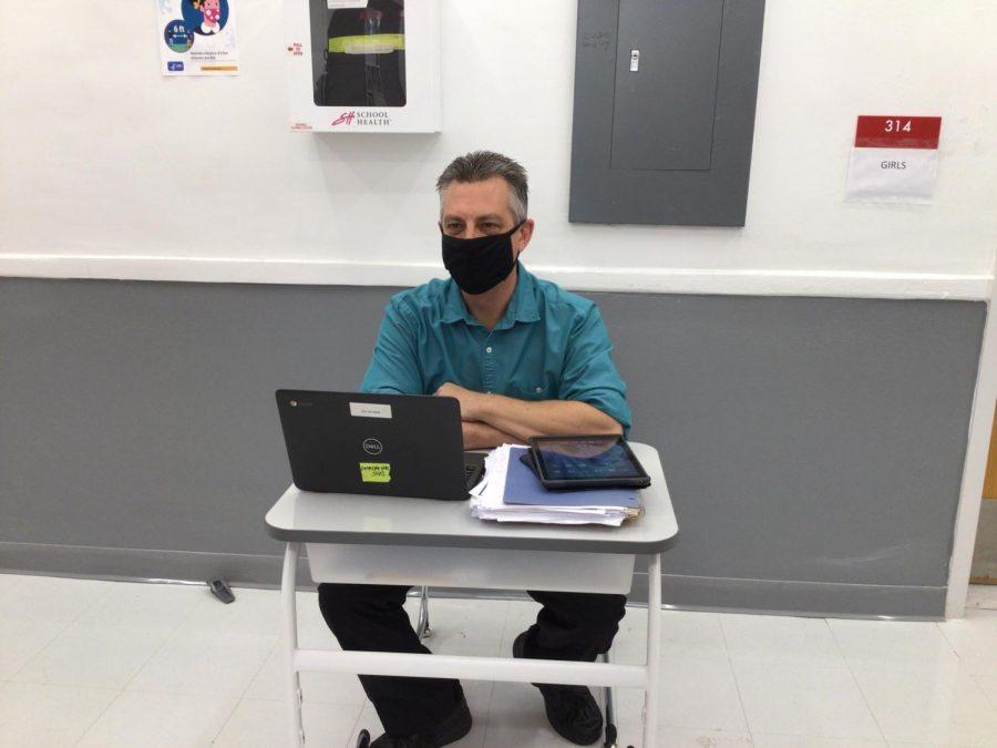 Math teacher Mr. Van on bathroom duty at WMS during second block.